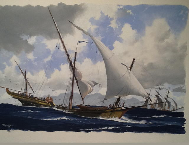 Chebec reducing sail Gouache image 53/35 cm