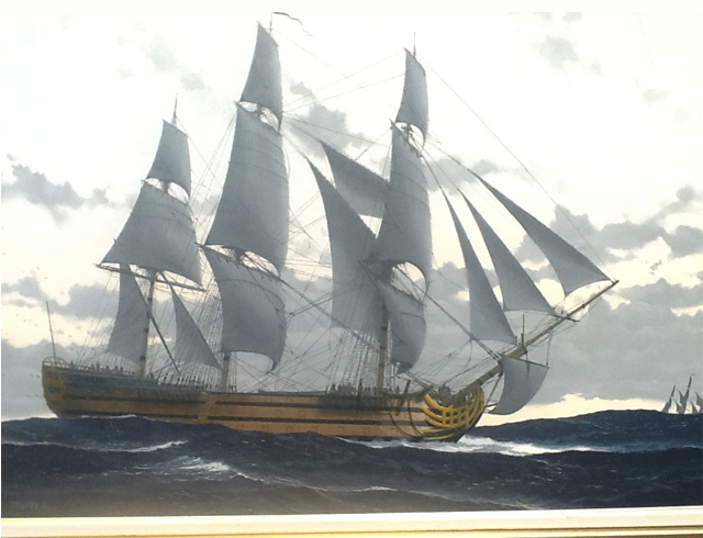 Oil on canvas 95X65 cm French warship Royal Louis
