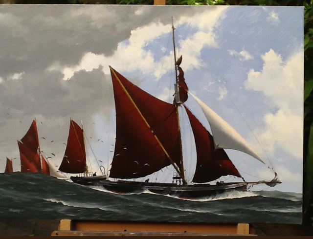 Thames barges Oil on canvas 93/65 cm