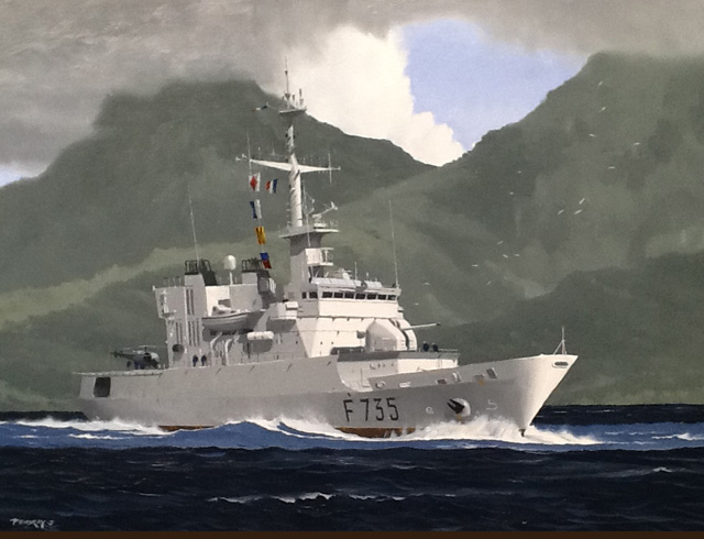 French frigate Germinal Guadeloupe Oil on canvas 93 X 65 cm