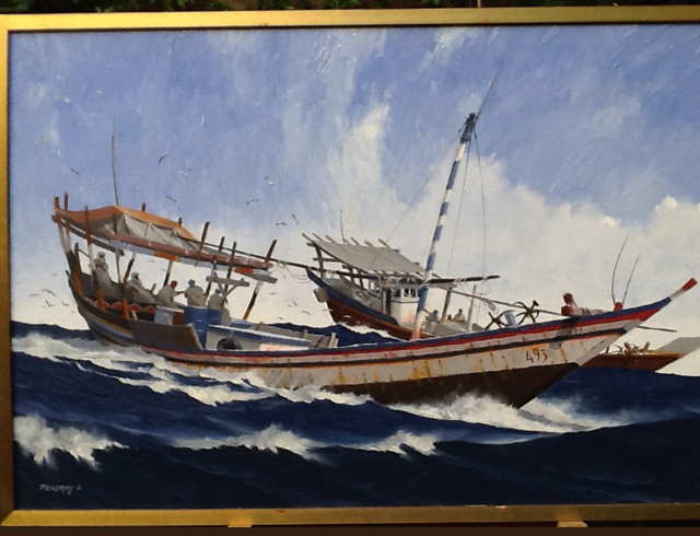 Fishing dhows Djibouti Oil on canvas 100/65 cm