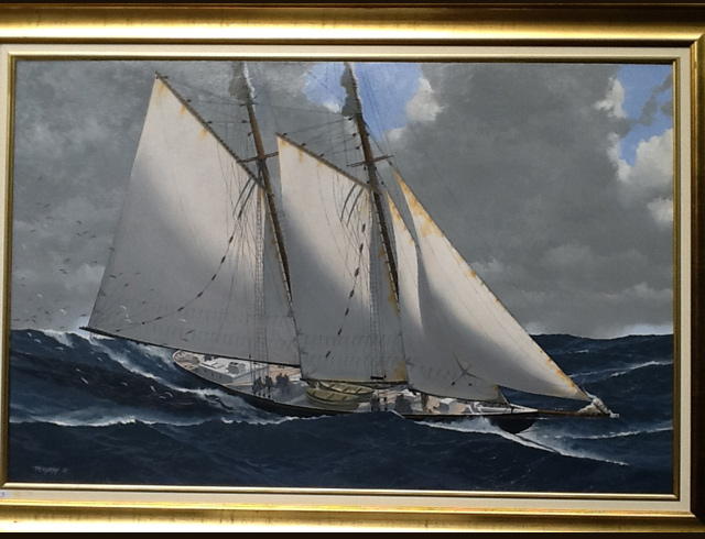 Oil on canvas Grand Banks schroner Bluenose 100X65cm