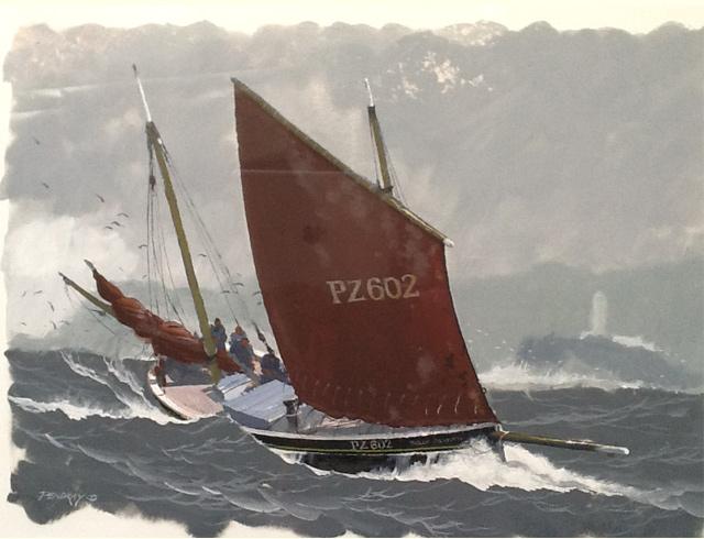 Penzance lugger off Godrevy Gouache image 52/37 cm