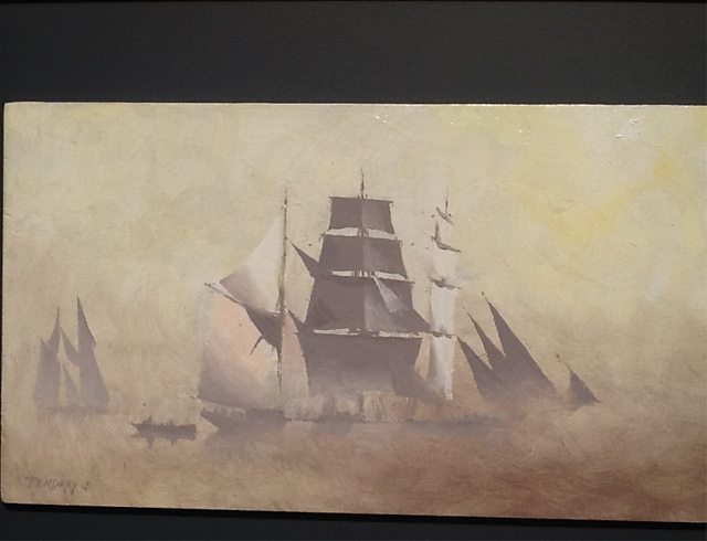 Three masted barque in mist Oil on board 33/19 cm