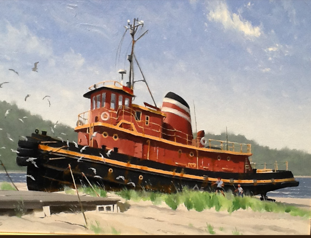 Beached tugboat Quebec Oil on canvas 73/50 cm