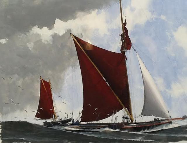 Thames barges. Gouache. Image 50/33 cm