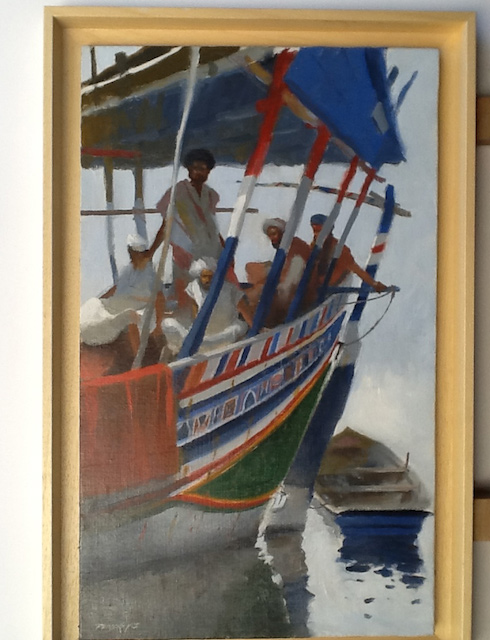 Men on a dhow. Oil 55/33cm