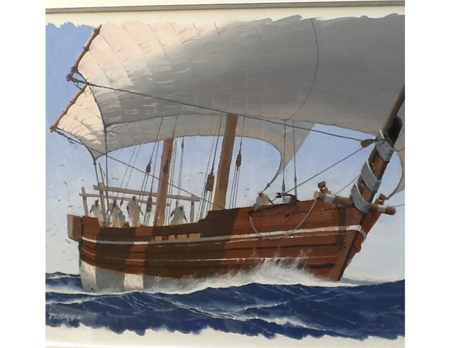 Two masted dhow. Gouache image 56/40