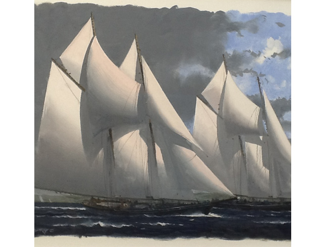 Two Grand Banks schooners, evening. Gouache image 54/35 cm