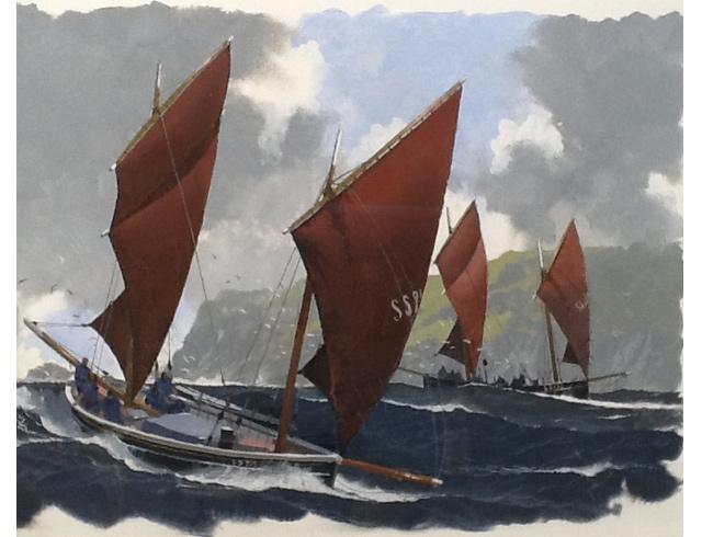 Saint Ives luggers. Gouache image 56/38 cm