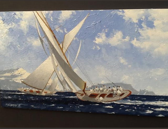 Two classic Yachts racing in front of Frioul - Oil - image 33/19 cm