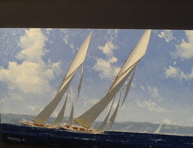 Two classic yachts on port tack. Oil, image 33/19 cm