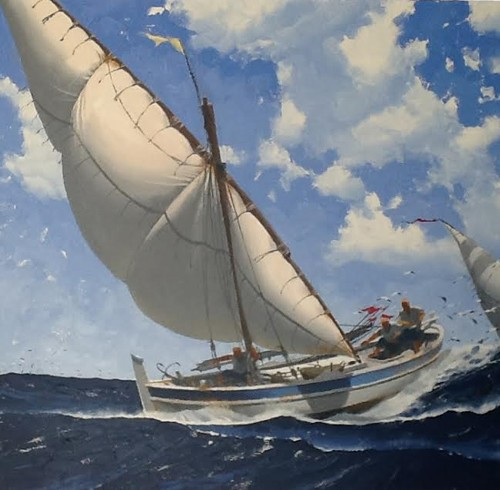Sea fishing tray Oil on canvas 100x 65 cm