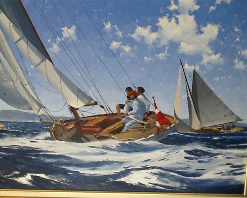 Two gaff sailing regatta. Oil on canvas 100x 65 cm